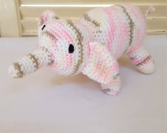 Pink And Brown Elephant Stuffed Animal / Crochet Doll / Amigurumi Toy/ Handmade Toys/ Gift For Kids/ Plushie Elephants