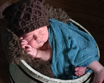 Newborn Bear Hat Crochet, Brown Bear Baby Hat, Infant Bear, Newborn Hat, Brown Hats