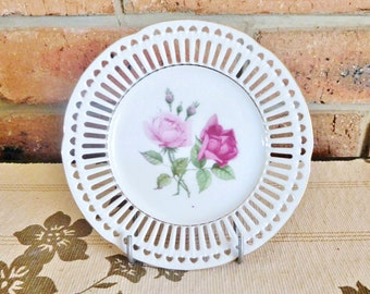 Arzberg Bavaria vintage 1940 pierced edge porcelain side plate, roses pattern, high tea