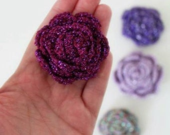 Purple Glitter Crochet Flower Applique - 3D Ruffled Rose for making Brooch