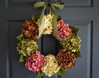 Summer Wreaths | Front Door Wreaths | Outdoor Wreaths | Hydrangea Wreath | Summer Door Wreaths | Housewarming Gift