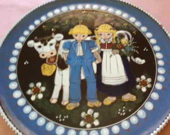 Large Hand painted Plate/ Cow/Children/Flowers