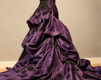 PAYMENT PLAN FOR lunabear191 Purple and Black Gothic Wedding Dress Ball Gown - Angela Style
