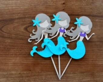 Mermaid Cupcake Toppers- aqua and purple