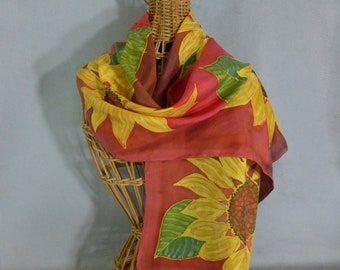 """Silk Scarf """"Bright Yellow and Red Sunflower"""", Hand Painted Silk Scarf, Sunflower Scarf"""