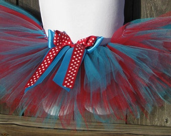 Red and Blue Birthday Tutu with Matching Headband
