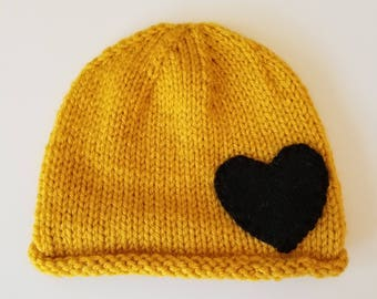 Yellow Baby Toddler Hand knit Beanie Hat Cap