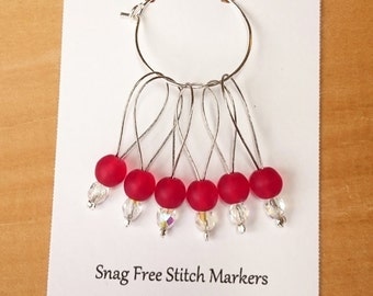 Stitch Markers, Snag Free Beaded Knitting Stitch Markers - Set of 6 Round Matte Red Glass Beads