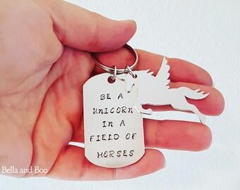 unicorn keyring, personalised keyring, handstamped bagtag, unicorn gift, unicorn lover, gift for her, personalised unicorn, stocking filler