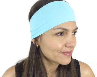 Yoga Headband Solid Light Blue Headband Fitness Headband Workout Wide Headband Hair Accessories Headband Turquoise Turban Women Spandex S12