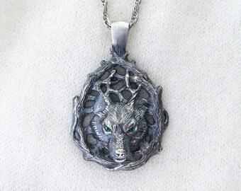 Wolf Pendant.Silver Wolf.Celtic Wolf.Wolf Totem.Wolf Necklace.Viking Pendant.Norse Pendant.Scandinavian Pendant.Wolf Charm.Nordic Pendant