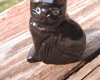 Miniature Stone Cat Figurine
