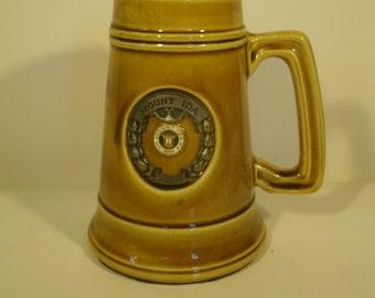 Mount Ida College Tankard Stein Large Mug Cup Metal Enameled Medallion Newton, Massachusetts Vintage Memorabilia College Collectable