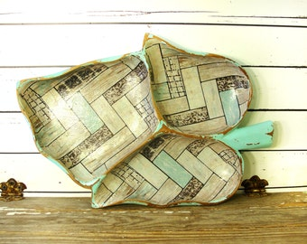 Distressed Wood Monkey Pod Divided Bowl in Turquoise with Decoupage, Upcycled Vintage Wooden Decor, Aqua Beach Cottage