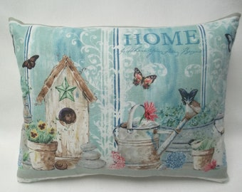 Garden Mini Pillow, Home Is Where Your Story Begins, Birdhouse, Birds, Butterflies, Flowers, Watering Can