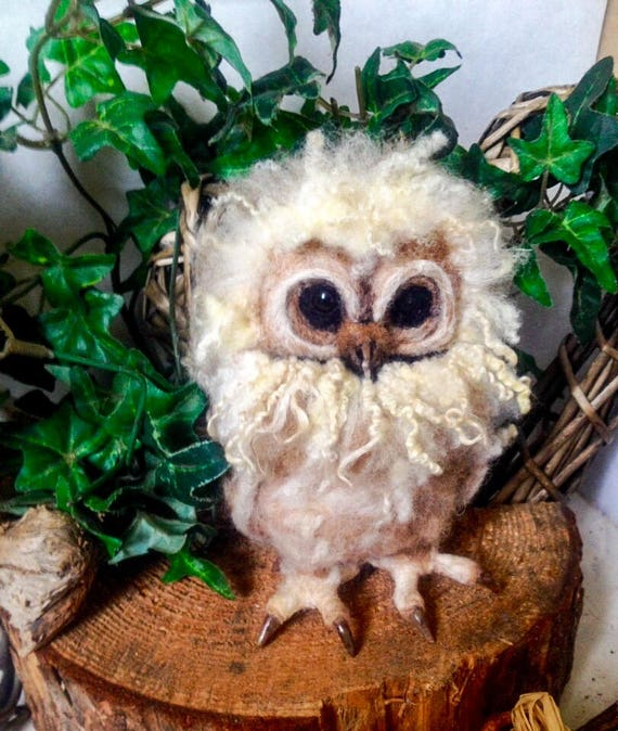 Made to Order- Needle Felted Owl OOAK handmade whimsical wildlife fantasy  sculpture ornament  Bird figurine