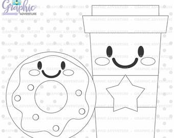Coffee Stamp, COMMERCIAL USE, Donut Stamp, Digi Stamp, Digital Image, Party Digistamp, Coffee Coloring Page, Donut Coloring Page
