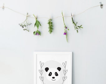 Panda print - Grey laurel wreath prints - Artwork for babies - Printable baby gift - Cute nursery decor - Soft pastel colors- Clean and cute