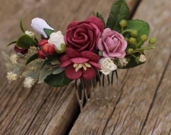Burgundy Hair Comb Bridal, Hair Piece, Bridal Comb, Floral Hair Comb, Red, Flower Comb, Half crown, Winter Hair Piece, Baby Breath, Leafs