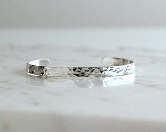 Hammered Sterling Silver Cuff, Planished Silver Bracelet, Simple Handmade Textured Cuff