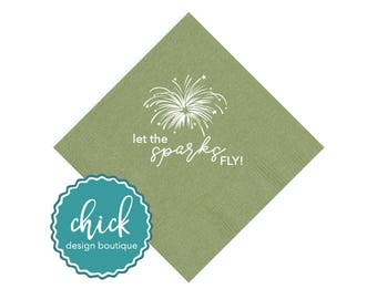 Let the Sparks Fly Firework Beverage Napkins Wedding Decor Fun Wedding Party Gifts Wedding Anniversary Party Gifts Custom Beverage 2D275A