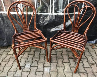 Set of 2 vintage rattan chairs varnished 70s Vintage