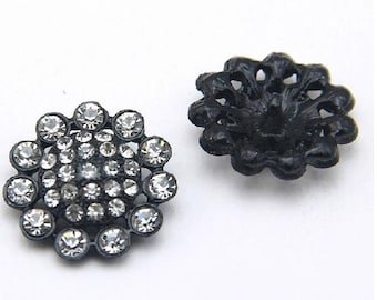 6 Pcs 1.06 Inches Black Sunflower Rhinestone Metal Shank Buttons For Mink fur Coats