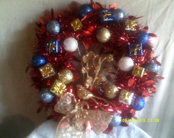 Small Red Tinsel Christmas Wreath