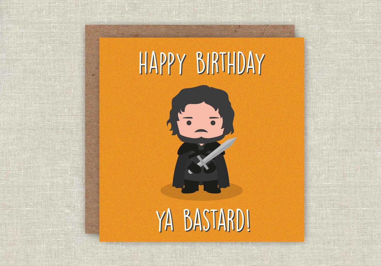 Birthday Card Jon Snow Game of Thrones Birthday Card GOT Funny