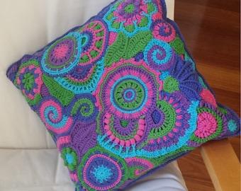 Freeform crochet cushion