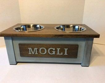 Medium Raised Dog Feeder Wood ,Rustic Dog Feeder,Dog Bowl Stand, Personalized Dog Bowl, Dog Bowl, Raised Dog Feeder, Elevated Dog Feeder