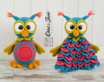 Combo Pack - Quinn the Owl Lovey and Amigurumi Set for 7.99 Dollars - PDF Crochet Pattern Instant Download - Special Offer