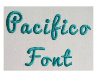 Pacifico machine embroidery font- 1 Inch Size- BX file included