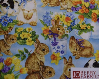 Spring Bunnies and Flowers from the Garden Gathering  Collection by Jane Maday for Wilmington Prints, Quilt or Craft Fabric. Fab by the Yard