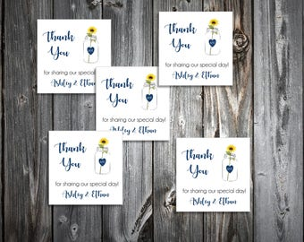 100 Mason Jar with Sunflower Wedding Favor Stickers. Personalized printed square labels are 2 inches by 2 inches.