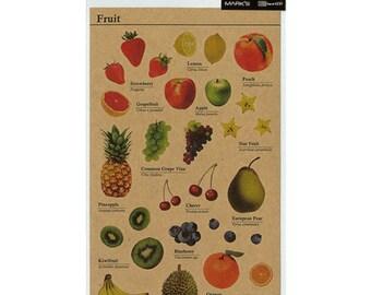 Fruit Stickers, Kraft Stickers, Planner Stickers