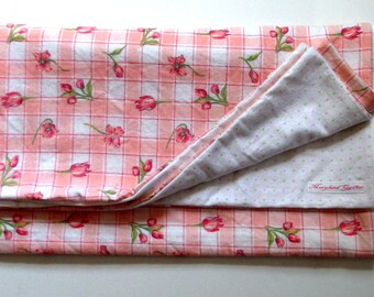 Soft Flowered  Baby Blanket, Green and Pink Dots, Large Double Sided