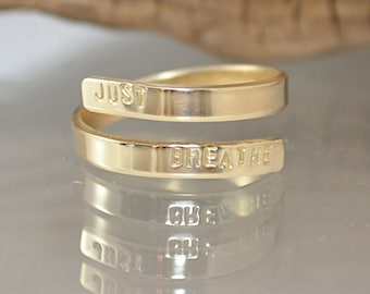 Personalized Wrap Ring - Personalized Jewelry - Hand Stamped Ring - Message Ring - Gold Wrap Ring - Pink Lemon Design