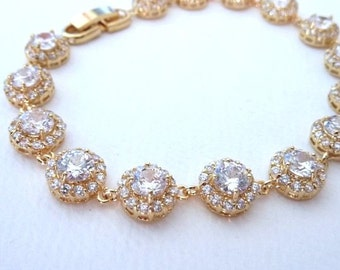 Bridal Bracelet - High Quality Halo Clear White Multi Round Drops Cubic Zirconias Yellow Gold Plated  Bracelet