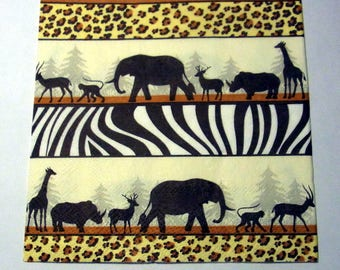 Decoupage Napkins,  vintage paper napkins, African animals