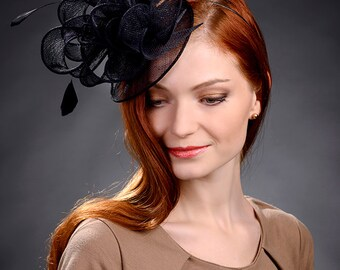 Fascinator Black for weddings - Black fascinator hat for races, funerals, church, other special occasions
