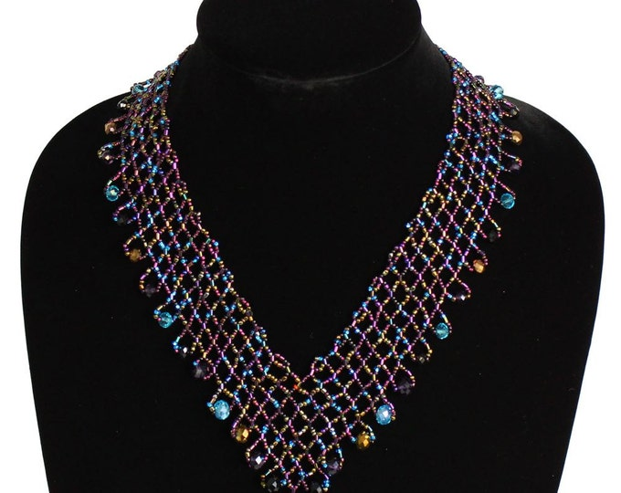 Hand beaded purple turquoise lattice necklace, magnetic clasp, desert sunset 19 inches #106