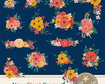 50% OFF Navy Blue Flower Bouquet Clipart, Peach Wedding Flowers, Shabby Flower Bunches, Floral Arrangement for digital Scrapbooking, Wedding