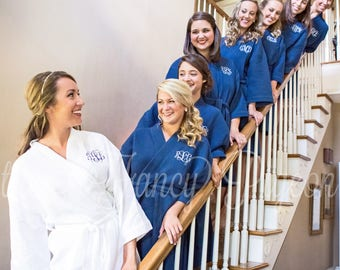 BRIDAL PARTY ROBES - Bride Robe - Cotton Robes - Dressing Gown - Getting Ready Robe - Wedding Robe - Cotton Robe for Bridesmaids - Spa Party