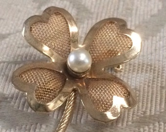 Vintage Clover Brooch, 4 Leaf Clover Brooch, Clover Pin, Vintage Clovers, Vintage Brooches, Brooches, Gold and Pearl Brooch, Pearl Brooch