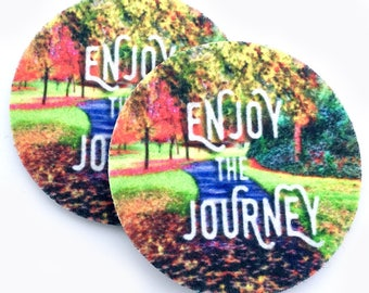 Absorbent car coasters for your car's cup holder - Free Shipping - Enjoy the Journey cup holder coasters - Can be used as wine coasters