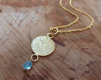 Hammered Gold Disc Necklace with Apatite Drop