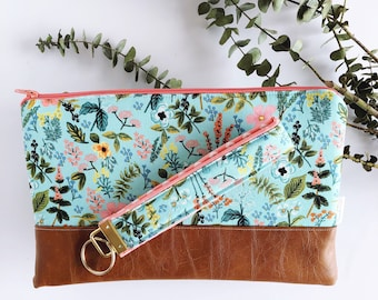 Mint Floral Clutch Purse with Matching Keychain | Rifle Paper Company Bag | Vegan Leather