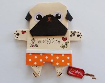 Pug Magnet, Origami Paper doll, Funny Magnet, Fridge Magnet, Magnet Dog, Fawn Pug, Cute Magnet
