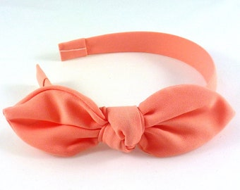 Greenhouse head/headband bow malleable - coral
